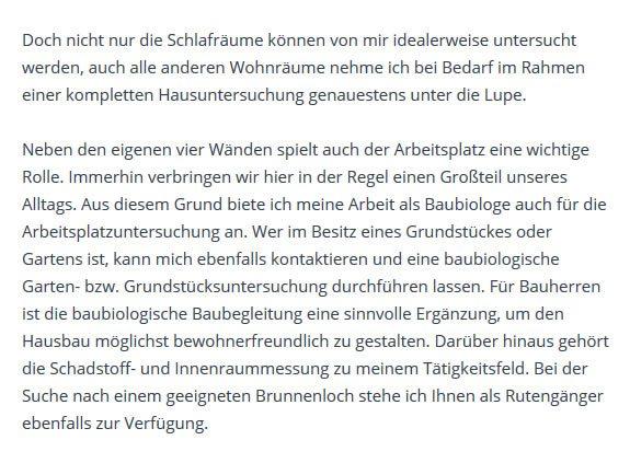 Schlafraum/ Wohnraum Untersuchung für  Grünheide (Mark)